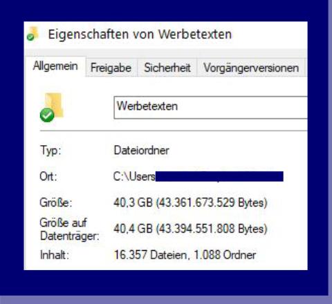 Screenshot 40 GB Werbetexten