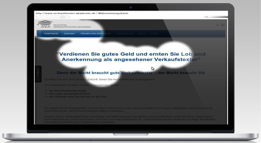 Screenshot der Hauptseite der Verkaufstexter-‐Akademie